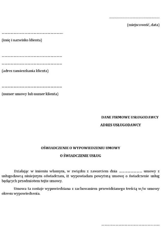 Wypowiedzenie umowy o telefon / abonament (Wzór PDF)